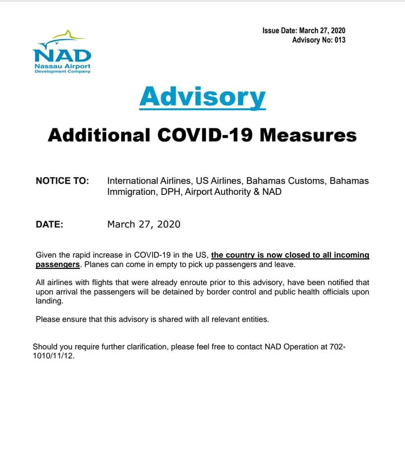 27th March, 2020 COVID-19 NAD Advisory